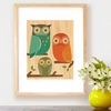 Framed Owl Trio Art Print on Wood