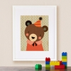 Framed Party Bear Print on Wood