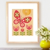 Framed Pink Butterfly Art Print on Wood