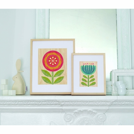 Framed Pink Flower Art Print on Wood