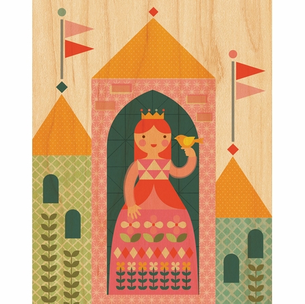 Framed Princess Art Print on Wood