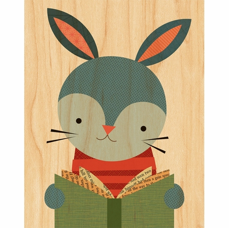 Framed Reading Rabbit Print on Wood