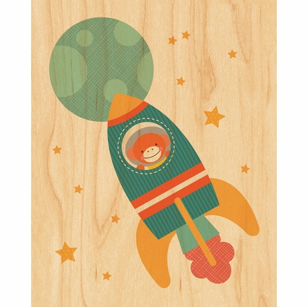 Framed Rocket Monkey Print on Wood
