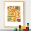 Framed Safari Parade Art Print on Wood