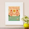 Framed San Francisco Bridge Print on Wood
