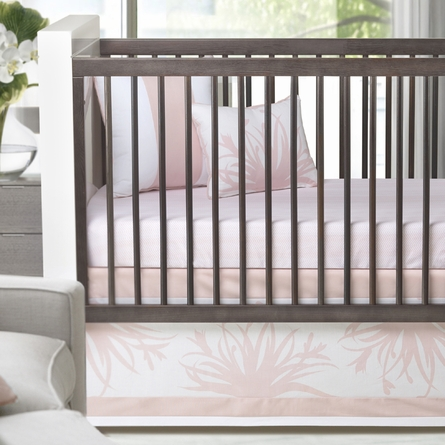 Freesia Patterned Crib Skirt in Blush