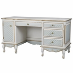 French Computer Desk in Antico White and French Blue with Elysee Motif