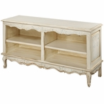 French Double Bookcase in Tea Stain with Bordeaux Toile Motif