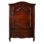 French Panel Crib in Antique French Walnut with Appliqued Moulding