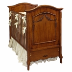 French Panel Crib in Chateau with Appliqued Moulding