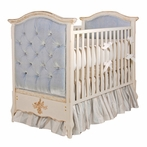 French Panel Empress Blue Upholstered Crib in Versailles Creme with Crystal Tufting