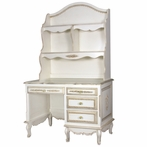 French Student Desk and Hutch in Versailles Creme with Appliqued Moulding