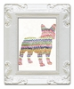 Frenchie with Zig Zags Decorative Framed Art Print