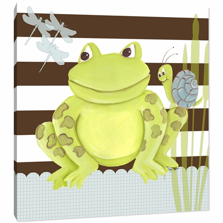 Frog on Stripes Canvas Reproduction