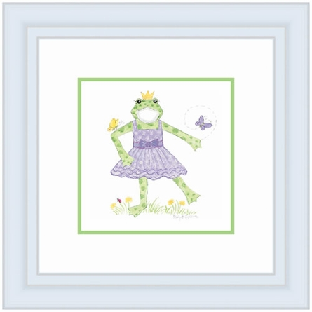 Frog With Crown Framed Lithograph