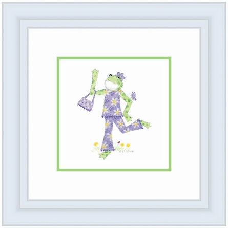 Frog With Purse Framed Lithograph