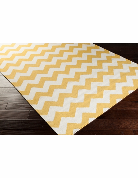 Frontier Chevron Flat Weave Rug in Ivory and Squash