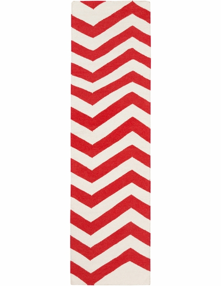 Frontier Chevron Flat Weave Rug in Poppy