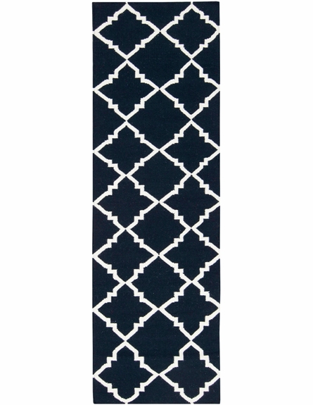 Frontier Diamonds Flat Weave Rug in Cobalt