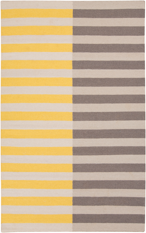 Frontier Multi Striped Flat Weave Rug In Mustard And Gray