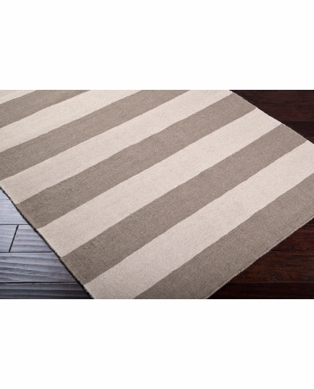 Frontier Striped Flat Weave Rug in Beige and Olive