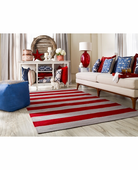 Frontier Striped Flat Weave Rug in Brick