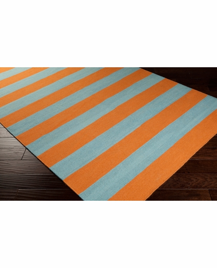Frontier Striped Flat Weave Rug in Burnt Orange