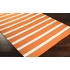 Frontier Striped Flat Weave Rug in Burnt Orange and Ivory
