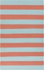 Frontier Striped Flat Weave Rug in Coral and Aqua