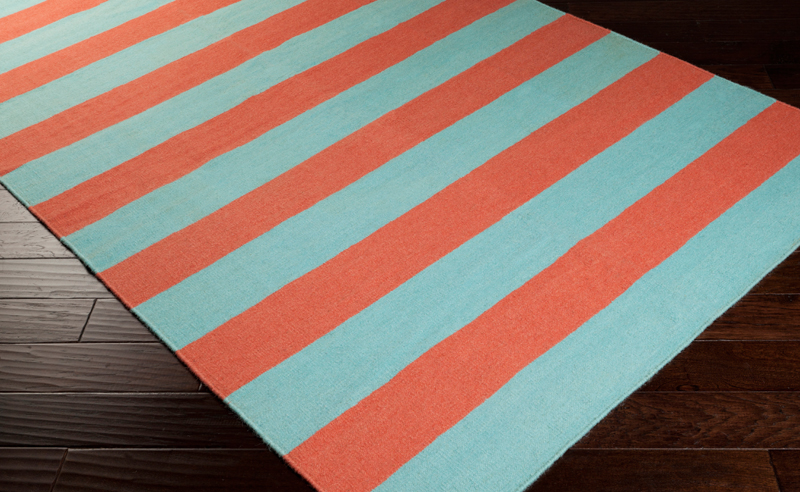 Frontier Striped Flat Weave Rug In Coral And Aqua By Surya
