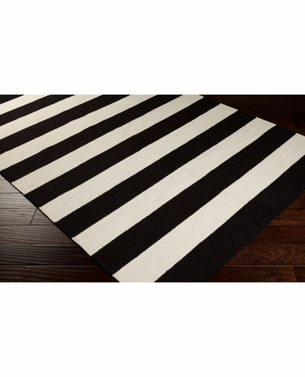 Frontier Striped Flat Weave Rug in Dark Forest