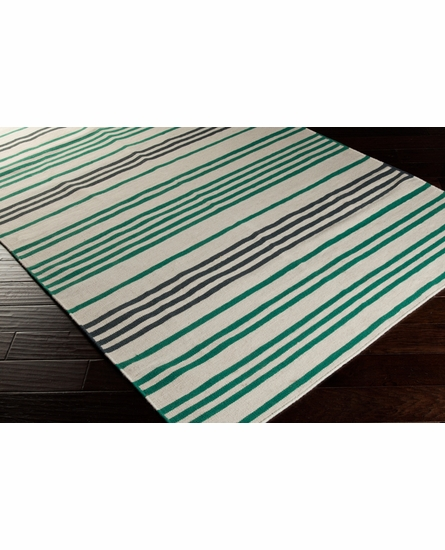 Frontier Striped Flat Weave Rug in Emerald