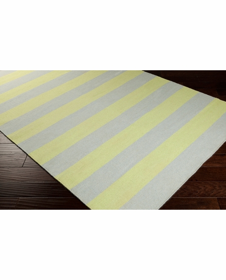 Frontier Striped Flat Weave Rug in Sky Blue and Aloe
