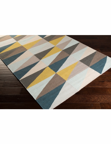 Frontier Triangle Flat Weave Rug in Mustard and Taupe