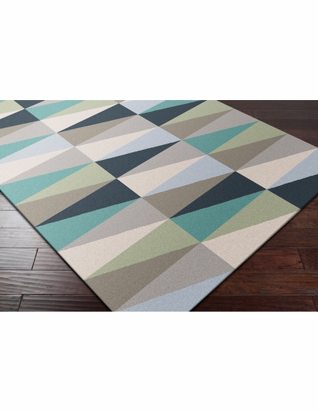 Frontier Triangle Flat Weave Rug in Teal and Gray