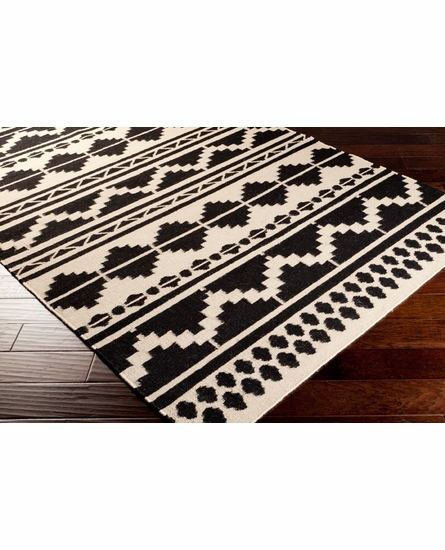 Frontier Tribal Flat Weave Rug in Ebony