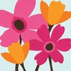 Fuchsia and Tangerine Flowers I Wall Art