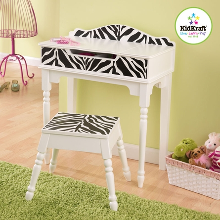 Fun and Funky Zebra Vanity and Stool