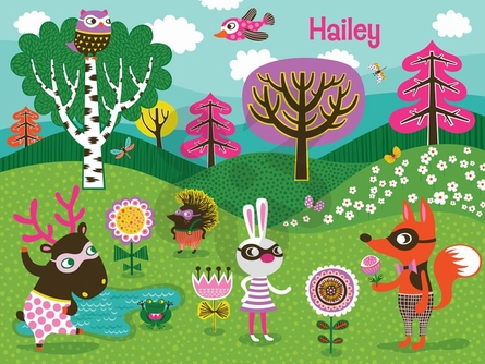 Funky Woodland Creatures - Girl Canvas Wall Art