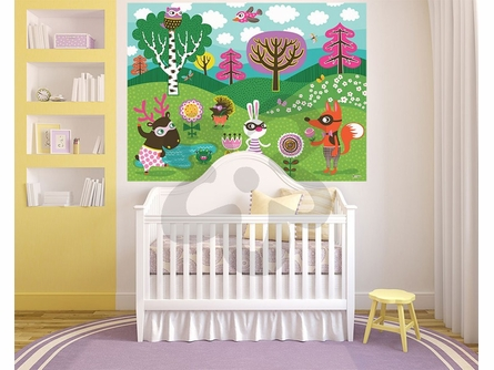 Funky Woodland Creatures Girl Mural Wall Decal