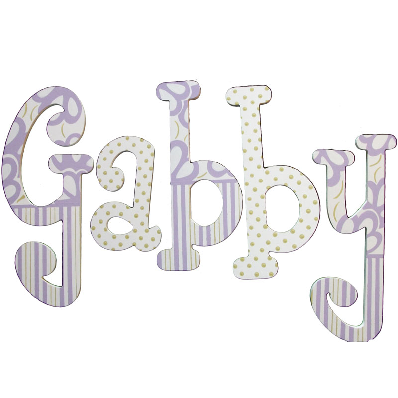 Gabby Purple And Green Hand Painted Wall Letters