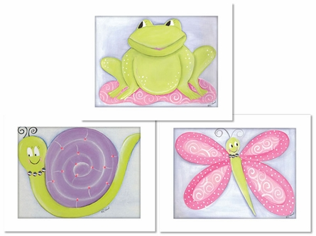 Garden Friends Framed Canvas Reproduction - Set of 3