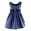 Garden Princess Gingham Dress in Navy with Navy Sash