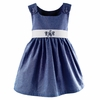 Garden Princess Gingham Dress in Navy with White Sash