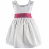Garden Princess Pique Dress in White with Hot Pink Sash