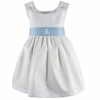 Garden Princess Pique Dress in White with Light Blue Sash