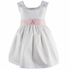 Garden Princess Pique Dress in White with Light Pink Sash