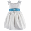 Garden Princess Pique Dress in White with Turquoise Sash