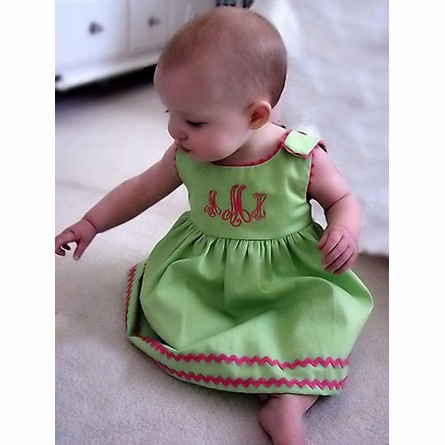 Garden Princess Pique Rick Rack Dress in Green with Hot Pink Trim