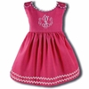 Garden Princess Pique Rick Rack Dress in Hot Pink with White Trim